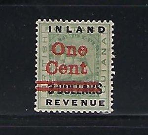 BRITISH GUIANA SCOTT #150 1890 1C ON $3 SURCHARGE - MINT LIGHT HINGED