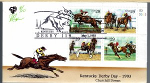 Pl# Block Pugh Designed/Painted Kentucky Derby 1993 FDC.. 8 of Only 10 created!
