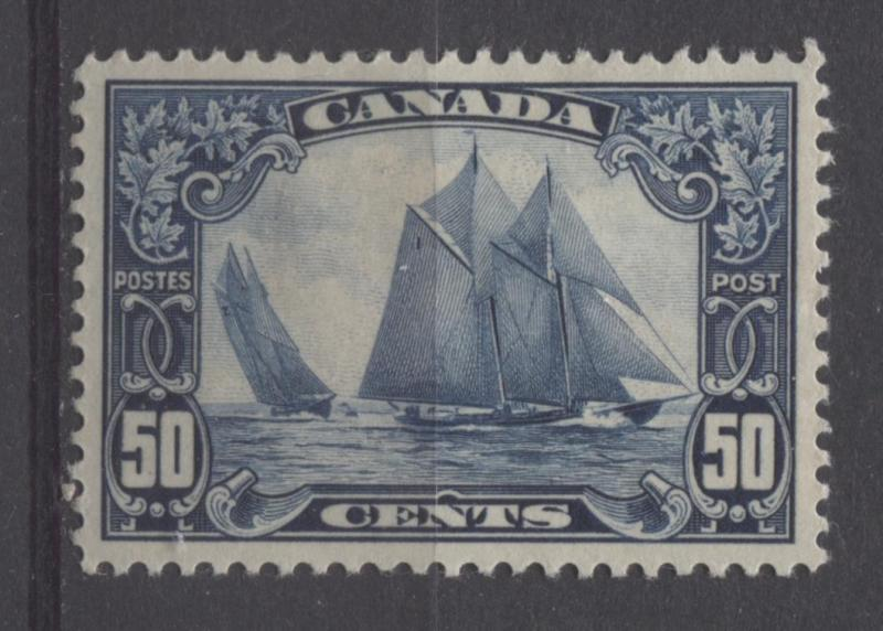 Canada #158 50c Deep Blue The Bluenose 1928 Scroll Issue No Mesh SUP-98 OG