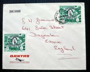 """VERY RARE BAHRAIN 1971 """"QANTAS"""" AUSTRALIA AIRWAYS COVER TO UK UNIQUE"""