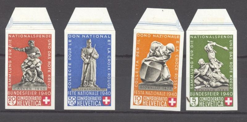 Switzerland  1940 Pro Patria Souvenir Sheet, all 4 stamps from sheet, MNH