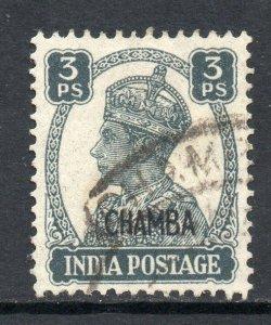 Indian States Chamba 1942 KGVI 3p slate SG 108 used