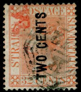 MALAYSIA - Staits Settlements SG60, 2c on 32c pale red, used. Cat £350.