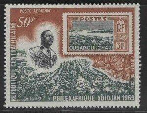 Central African Republic Scott C65 1969 Stamo on stamp MNH**