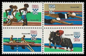 PCBstamps     US #1791/1794a Block 60c(4x15c)Summer Olympics, MNH, (15)