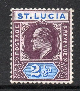 St Lucia 1904 EDVII 2½d dull purple & ultra chalk paper wmk MCCA SG 68a mint
