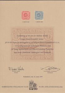 Danish West Indies 1977 Card Kobenhavns Philatelist Klub 90-Ars Jubilaemsudst...