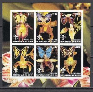 Benin. 2002 Cinderella issue. Orchids & Butterflies sheet, IMPERF sheet of 6.