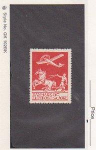 Denmark Stamp Scott # C3 Mint OG H $45 Horses Airplane