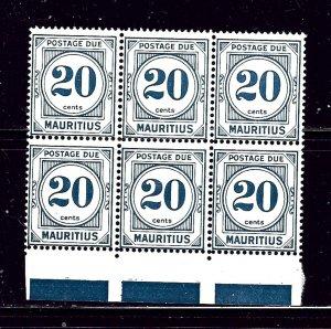 Mauritius J12 MNH 1966 Block of 6