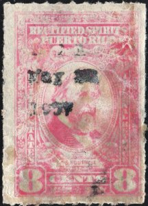 Puerto Rico #RE40 8¢ Rectified Spirits (1942) Used