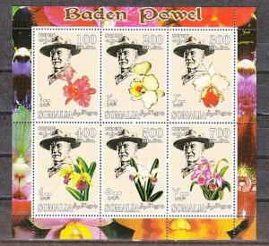 Somalia, 2001 Cinderella issue. Orchids sheet of 6. Scout Founder in design.