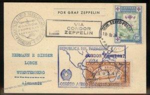 Paraguay 1934 Graf Zeppelin 6. SAF Si270 Germany Cover 98879