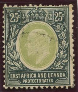 East Africa & Uganda - Scott 37- KEVII Definitive -1907 - Used- Single 25c Stamp