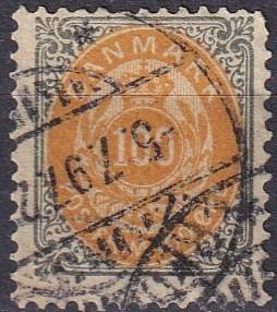 Denmark #52a F-VF Used  Inverted Frame CV $57.50 (A19316)