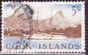 COOK ISLANDS 1963 5/- Bistre-Brown & Blue SG172 Used