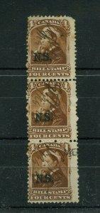 Nova Scotia Bill stamp overprint NSB5 strip of 3, Cat $45 Canada used