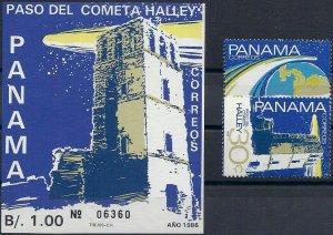 1986 Panama Halley´s Comet, Souvenir Sheet+complete set VF/MNH, CAT 16$