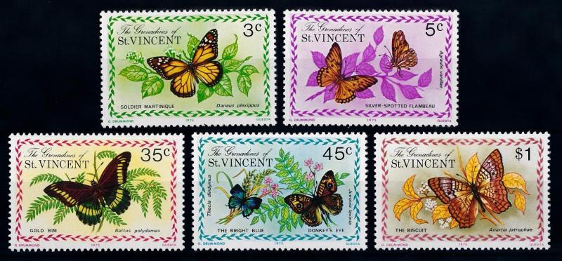 [65673] Grenadines of St. Vincent 1975 Butterflies  MLH