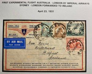 1931 Sydney Australia Experimental Return Flight Cover To Belfast Ireland