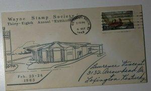 Wayne Stamp Society Exhibition Detroit MI 1963 Philatelic Expo Cachet Cover