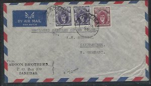ZANZIBAR  (PP2608B)  1956  SULTAN C 50CX2 +25C  A/M    COVER TO GERMANY