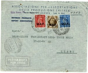 M.E.F. (Eritrea) 1946 Asmara cancel on airmail cover to Italy, certificate