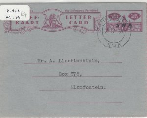South Africa 1956 Letter Card To Blomfontein Postal History J6048