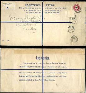 RP39 KGV 4 1/2d Registered Envelope size K Used uprated stamp removed