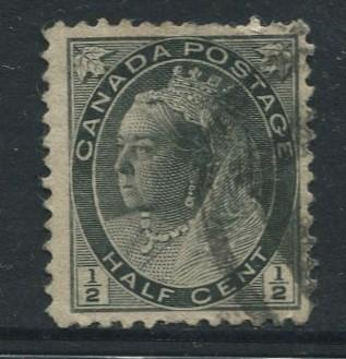 Canada - Scott 74 - Queen Victoria - 1898 - Used - Single 1/2c Stamp