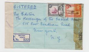 KENYA (MELINDI) 1943 CENSOR COVER REG TO USA, H/S Ty3  60c RATE (SEE BELOW)