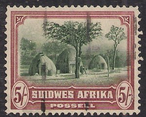 South West Africa 1931 KGV 5/-d Herero Huts used Afrikaan SG 83 ( K2 )