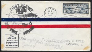 UNITED STATES C7 on First Flight Cover c1928 Toledo to Chicago