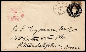 United States Scott U54 Cover from Salem, MA to Philadelphia, PA (1869) Used F M