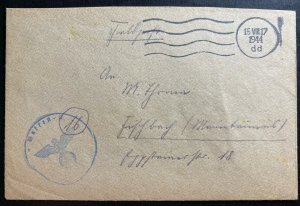 1944 Waffen SS Fieldpost Germany Stampless Cover
