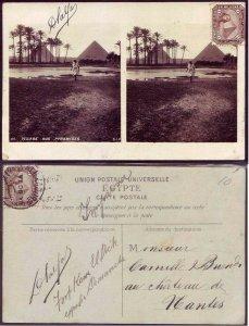 Egypt Village and Pyramides Stereoview B/W Photo postcard 1906 - Pyramid Pyramid