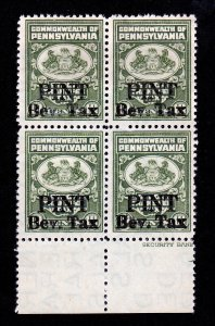 PENNSYLVANIA OVERPRINT PINT BEVERAGE TAX 10 CENTS BLOCK OF 4 MNH-OG WITH SELVAGE