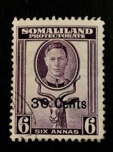Somaliland Protectorate Scott 120 30 Cent Overprint-Used