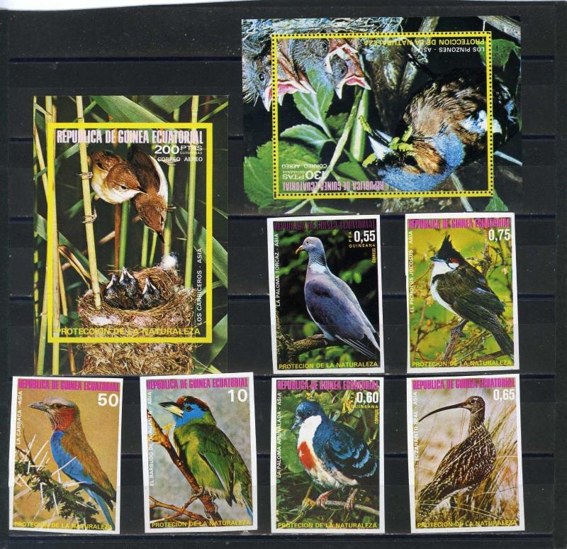 EQUATORIAL GUINEA BIRDS OF ASIA SET OF 6 STAMPS & 2 S/S PERF.& IMPERF.MNH