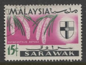 STAMP STATION PERTH Sarawak #233  State Crest & Orchid Type FU 1965