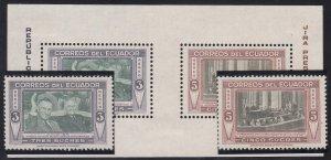 Ecuador - 1952 - SC C231-32a - NH/H - including souvenir sheet H