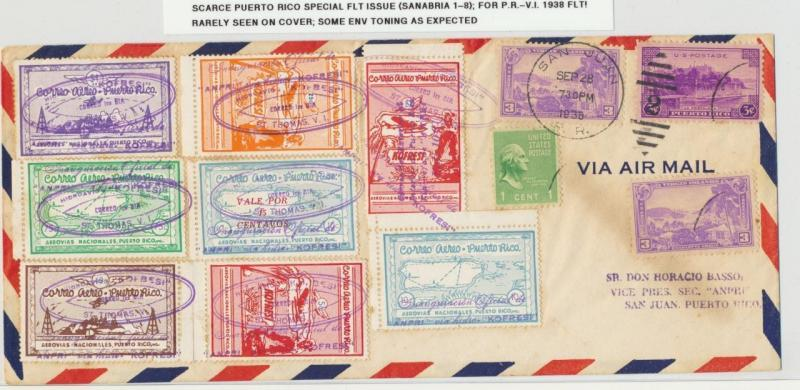 PUERTO RICO 1938 SPECIAL FLIGHT ISSUE (San#1-8) ON COVER TO USVI, RARELY SEEN..