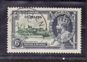 St Helena-Sc#113-used 6p KGV Silver Jubilee-Castles-1935-