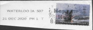 US #5524 on piece with cancel.  Mayflower in Pylmouth Harbor.