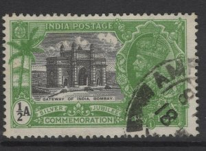 INDIA SG240w 1935 ½a SILVER JUBILEE WMK STARS POINTING LEFT USED