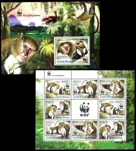 Guinea Bissau 2013 monkeys wwf klb+s/s MNH