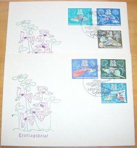 1976 Germany, GDR, DDR Fish, Ornamental Fish, Guppy, compl. set on 2 FDC!
