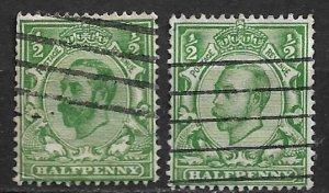 1911-2  Great Britain 151 & 153 two varieties of ½p KGV used