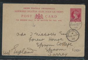 LEEWARD ISLANDS (P2712B) 1895 QV 1D PSC FROM DOMINICA TO ENGLAND WITH MSG