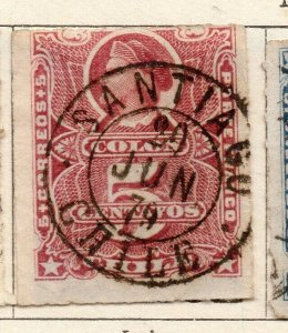 Chile 1877 Early Issue Fine Used 5c. Postmark NW-11397